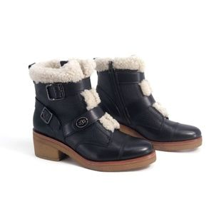 "Coach ""Preston"" Leather Shearling Boots 9.5"
